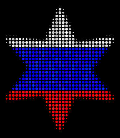 Halftone Fireworks Star icon colored in Russia state flag colors on a dark background. Vector collage of fireworks star icon composed with spheric items.