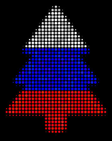 Halftone Fir-Tree pictogram colored in Russian official flag colors on a dark background. Vector composition of fir-tree icon created from circle items.