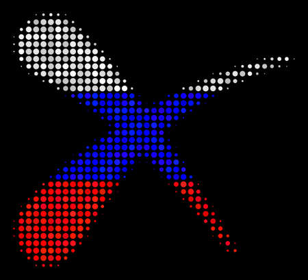 Halftone Erase pictogram colored in Russian state flag colors on a dark background. Vector collage of erase icon designed with spheric blots. Designed for political and Russian patriotic agitprop.