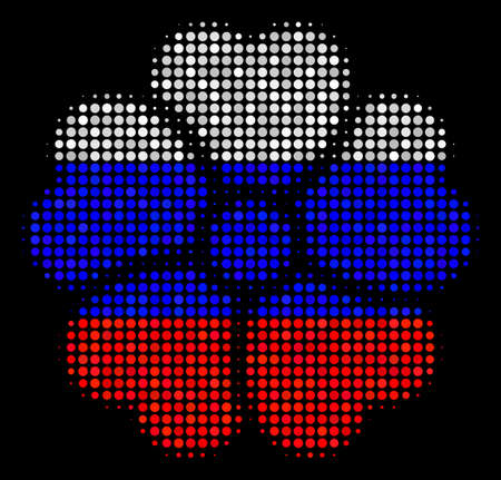 Halftone Flower pictogram colored in Russian official flag colors on a dark background. Vector composition of flower icon combined from spheric items.