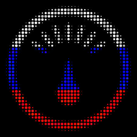 Halftone Gauge icon colored in Russian official flag colors on a dark background. Vector mosaic of gauge icon designed from spheric spots. Designed for political and Russian patriotic agitation.