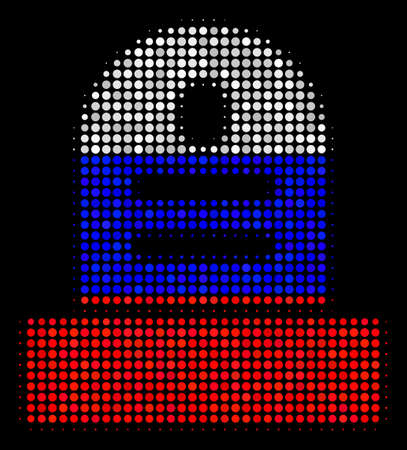 Halftone Grave pictogram colored in Russia official flag colors on a dark background. Vector concept of grave icon created of round blots. Designed for political and Russian patriotic projects.