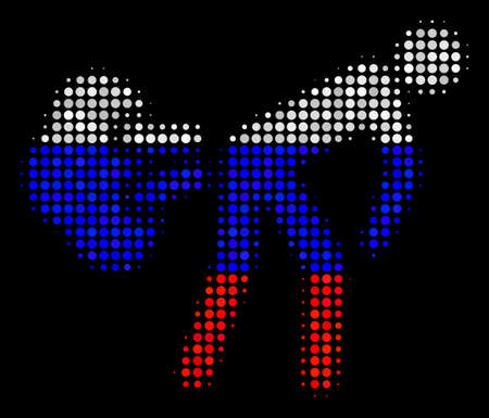 Halftone Fart Gases icon colored in Russia state flag colors on a dark background. Vector concept of fart gases icon created of round pixels. Designed for political and Russian patriotic agitprop. Illusztráció
