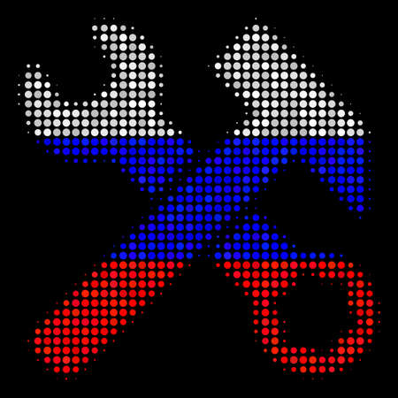 Halftone Hammer And Wrench icon colored in Russia state flag colors on a dark background. Vector pattern of hammer and wrench icon made with spheric elements.