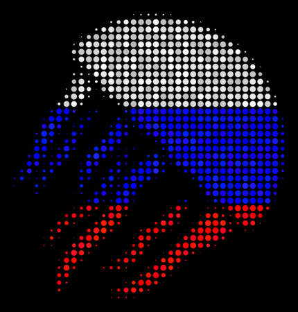 Halftone Jellyfish icon colored in Russia state flag colors on a dark background. Vector concept of jellyfish icon composed of spheric spots. Designed for political and Russian patriotic propaganda. Illustration