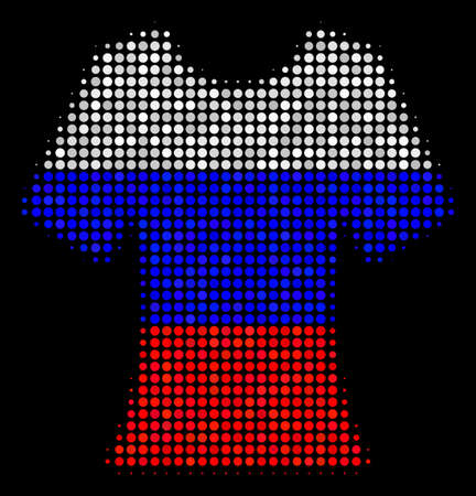 Halftone Lady T-Shirt pictogram colored in Russian official flag colors on a dark background. Vector pattern of lady t-shirt icon made of spheric pixels.