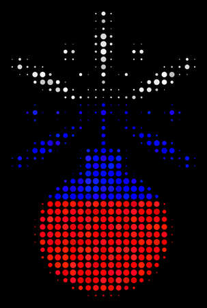 Halftone Fireworks Detonator pictogram colored in Russia state flag colors on a dark background. Vector concept of fireworks detonator icon designed from circle elements.