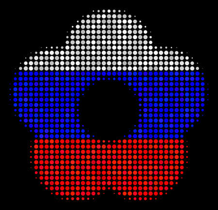 Halftone Flower icon colored in Russia official flag colors on a dark background. Vector composition of flower icon made with round items. Designed for political and Russian patriotic propaganda. Çizim