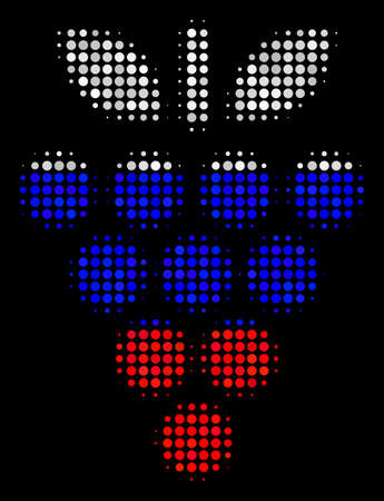 Halftone Grapes icon colored in Russian official flag colors on a dark background. Vector pattern of grapes icon composed of spheric pixels. Designed for political and Russian patriotic propaganda. Illustration