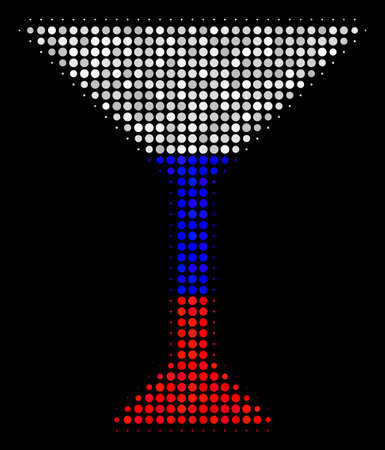 Halftone Martini Glass icon colored in Russian official flag colors on a dark background. Vector composition of martini glass icon formed with round elements.