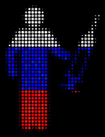 Halftone Medic pictogram colored in Russian state flag colors on a dark background. Vector composition of medic icon constructed from circle elements. Illustration