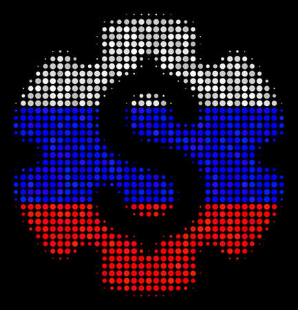Halftone Financial Settings Gear pictogram colored in Russian official flag colors on a dark background. Vector concept of financial settings gear icon formed from circle pixels.