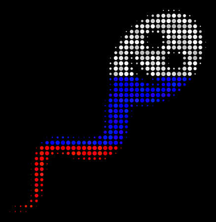 Halftone Happy Spermatozoon pictogram colored in Russia state flag colors on a dark background. Vector pattern of happy spermatozoon icon composed from round elements.