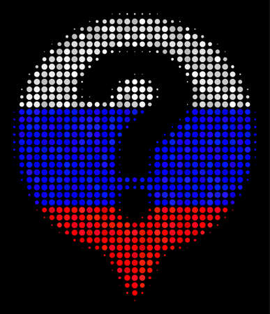 Halftone Help Balloon icon colored in Russia state flag colors on a dark background. Vector mosaic of help balloon icon done from circle elements. Illustration