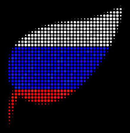 Halftone Herbal Leaf pictogram colored in Russian official flag colors on a dark background. Vector mosaic of herbal leaf icon constructed of circle items.