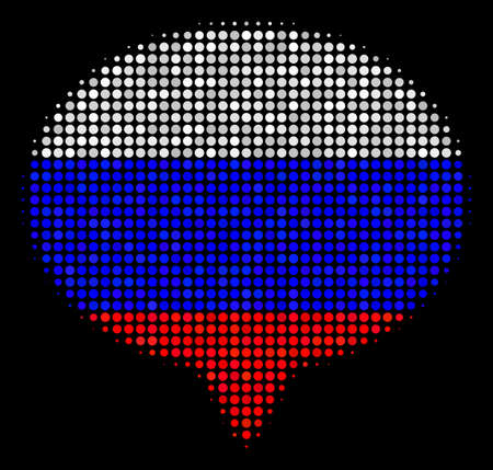 Halftone Hint pictogram colored in Russian official flag colors on a dark background. Vector collage of hint icon designed with spheric dots. Designed for political and Russian patriotic collages.