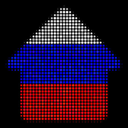 Halftone House pictogram colored in Russia official flag colors on a dark background. Vector composition of house icon done of circle elements. Designed for political and Russian patriotic projects.