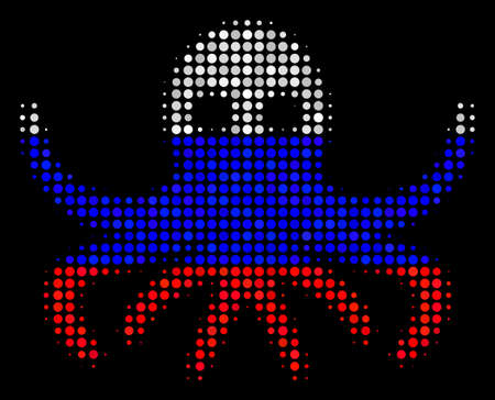 Halftone Octopus pictogram colored in Russian state flag colors on a dark background. Vector collage of octopus icon composed from circle elements.