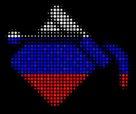 Halftone Paint Bucket icon colored in Russian state flag colors on a dark background. Vector mosaic of paint bucket icon combined from round items.