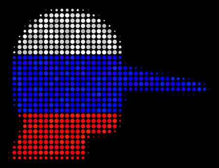 Halftone Lier pictogram colored in Russian official flag colors on a dark background. Vector concept of lier icon made of round spots. Designed for political and Russian patriotic promotion.
