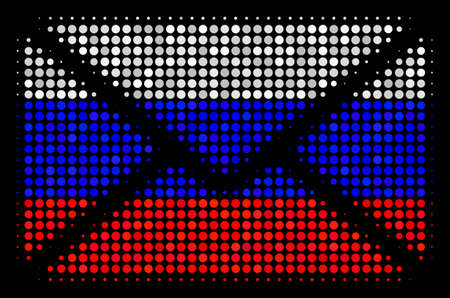 Halftone Mail Envelope icon colored in Russia official flag colors on a dark background. Vector mosaic of mail envelope icon composed from circle elements.
