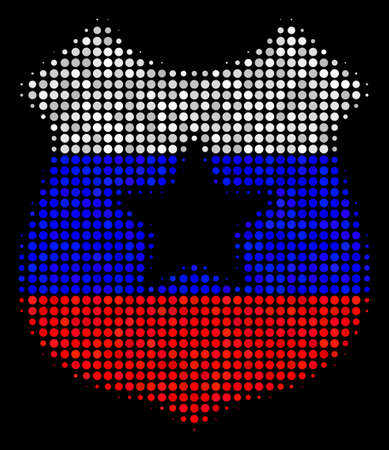 Halftone Police Shield pictogram colored in Russia state flag colors on a dark background. Vector collage of police shield icon composed with circle pixels.