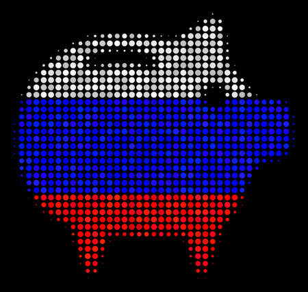Halftone Piggy Bank icon colored in Russian official flag colors on a dark background. Vector pattern of piggy bank icon combined from circle items. Illustration