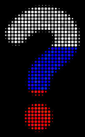 Halftone Question pictogram colored in Russia official flag colors on a dark background. Vector pattern of question icon done with spheric elements.