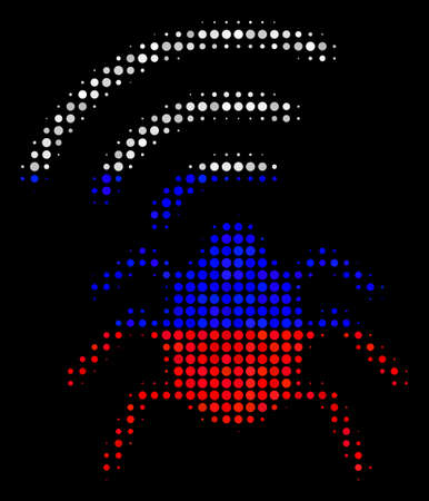 Halftone Radio Bug icon colored in Russia official flag colors on a dark background. Vector collage of radio bug icon designed from spheric items.