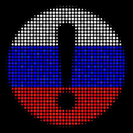 Halftone Problem pictogram colored in Russian state flag colors on a dark background. Vector pattern of problem icon created of round items. Designed for political and Russian patriotic agitprop.