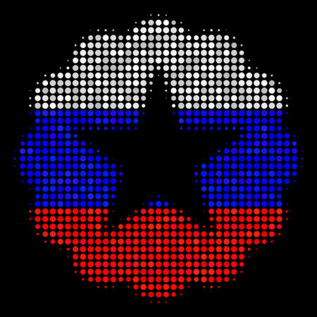 Halftone Quality pictogram colored in Russian official flag colors on a dark background. Vector concept of quality icon made of circle elements. Designed for political and Russian patriotic projects.