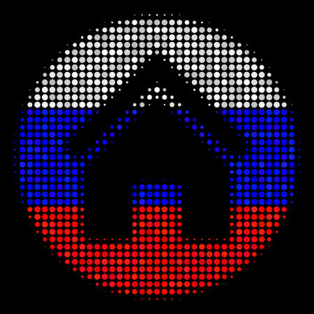 Halftone Real Estate icon colored in Russian state flag colors on a dark background. Vector composition of real estate icon composed with circle pixels.