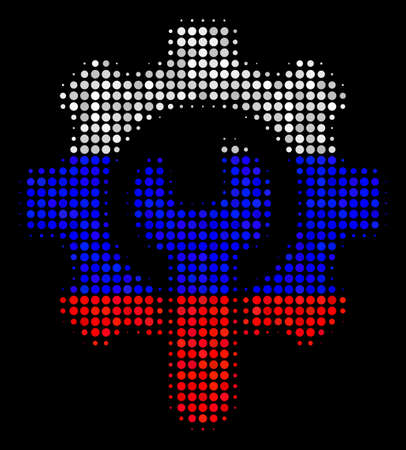 Halftone Service Tools icon colored in Russian state flag colors on a dark background. Vector mosaic of service tools icon composed from circle items.