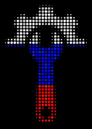 Halftone Service Tools pictogram colored in Russia state flag colors on a dark background. Vector pattern of service tools icon made from round elements.