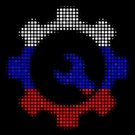 Halftone Service Tools pictogram colored in Russia state flag colors on a dark background. Vector mosaic of service tools icon organized from round dots.