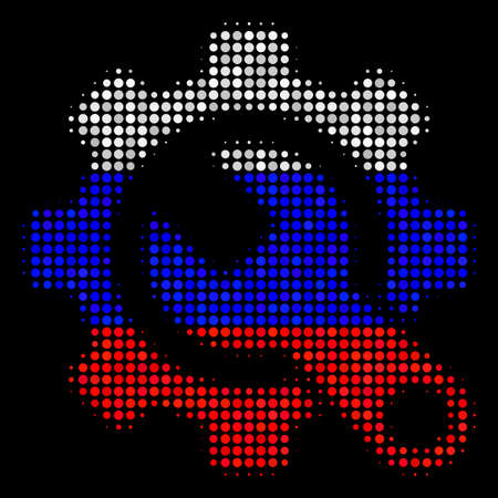 Halftone Service Tools pictogram colored in Russia official flag colors on a dark background. Vector collage of service tools icon done with circle items.
