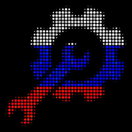 Halftone Setup Tools icon colored in Russia official flag colors on a dark background. Vector mosaic of setup tools icon made with spheric blots.