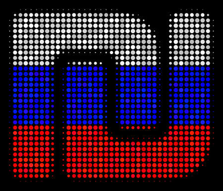 Halftone Shekel pictogram colored in Russian official flag colors on a dark background. Vector concept of shekel icon done from spheric dots. Designed for political and Russian patriotic posters.