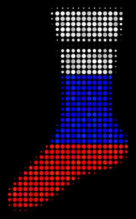 Halftone Sock icon colored in Russia official flag colors on a dark background. Vector pattern of sock icon organized with spheric pixels. Designed for political and Russian patriotic purposes. 일러스트