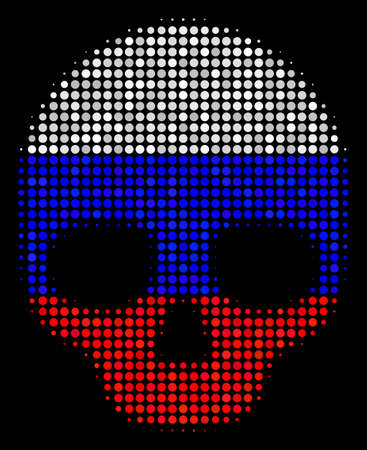 Halftone Skull icon colored in Russian official flag colors on a dark background. Vector collage of skull icon created with circle blots. Designed for political and Russian patriotic promotion.