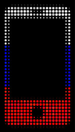 Halftone Smartphone icon colored in Russian official flag colors on a dark background. Vector concept of smartphone icon made from spheric elements.