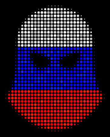 Halftone Terrorist Balaklava icon colored in Russia state flag colors on a dark background. Vector mosaic of terrorist balaklava icon designed from spheric dots.