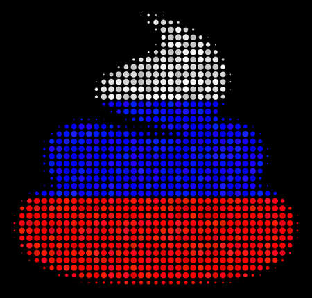 Halftone Shit icon colored in Russian official flag colors on a dark background. Vector composition of shit icon done of spheric dots. Designed for political and Russian patriotic posters.
