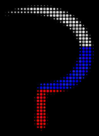Halftone Sickle pictogram colored in Russian official flag colors on a dark background. Vector collage of sickle icon formed with spheric spots. Designed for political and Russian patriotic collages.