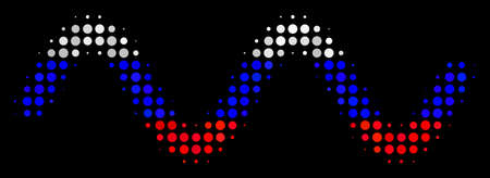 Halftone Sinusoid Wave icon colored in Russian state flag colors on a dark background. Vector concept of sinusoid wave icon organized with circle pixels.
