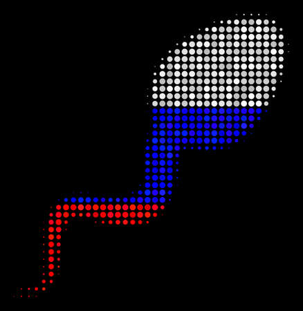 Halftone Spermatozoon icon colored in Russian state flag colors on a dark background. Vector pattern of spermatozoon icon made from spheric dots.