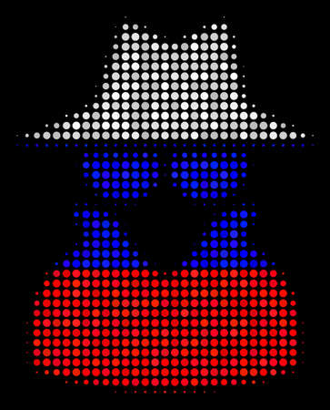 Halftone Spy pictogram colored in Russia state flag colors on a dark background. Vector collage of spy icon combined of round pixels. Designed for political and Russian patriotic propaganda.
