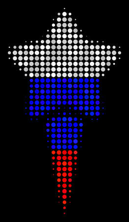 Halftone Starting Star icon colored in Russian official flag colors on a dark background. Vector pattern of starting star icon created from round blots. Ilustrace