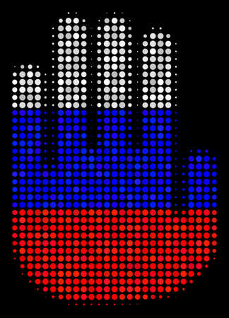Halftone Stop Hand icon colored in Russian official flag colors on a dark background. Vector concept of stop hand icon made of round blots. Designed for political and Russian patriotic posters.