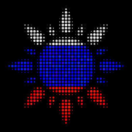 Halftone zon pictogram gekleurd in de kleuren van de vlag van Rusland op een donkere achtergrond. Vector samenstelling van zon pictogram gevormd uit ronde items. Ontworpen voor politieke en Russische patriottische posters. Vector Illustratie